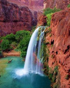 America - Arizona - Havasu - Turquoise Waterfall #travel #wanderlust #america