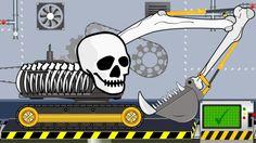 Excavator Skeleton Halloween   Toy Factory   Video for Kids - Koparka sz...