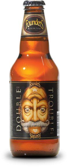 Cerveja Founders Double Trouble IPA, estilo Imperial / Double IPA, produzida por Founders Brewing, Estados Unidos. 9.4% ABV de álcool.