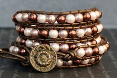 wrap bracelet- chocolate, champagne and cream glass pearls on bronze leather on Etsy, $55.00