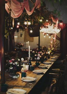 Opulent-rustic reception space with draping + garlands