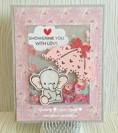 Adorable Elephants: MFT, shaker card, shower, critter sketch