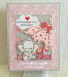 Adorable Elephants: MFT, shaker card, shower, critter sketch