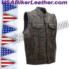 Mens SOA Style Motorcycle Club Vest in Distressed Brown / SKU USA-MV320-ZIP-BROWN-DL