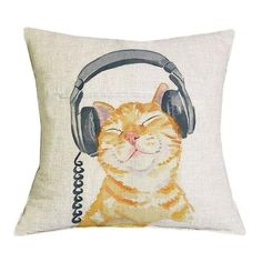 Lovely Yellow Cat With Headphone Pillow Case