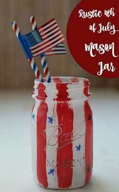 Get in the festive Fourth of July spirit with this patriotic, DIY, rustic Mason Jar craft. The stars and stripes make it the perfect centerpiece or decoration for your celebration!