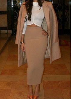 High Waist Khaki Bodycon Maxi Skirt  pinterest: @rachelisabell