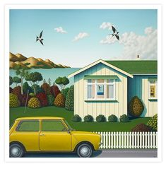 """Colour painting Bach with Mini"""" by Hamish Allan, NZ. Yellow mini outside white beach house, seagulls fly and trees and lawn. Available at New Zealand Fine Prints (Nov"""