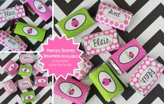 Pink Ladybug Chocolate Bar Wrappers Printable by WithEnvyParties
