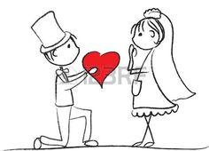 dibujos animados boda: la novia y el novio en una boda