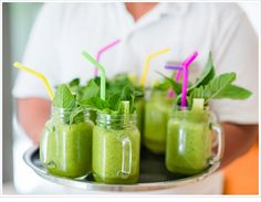 Refresh and re-energize with a special healthy smoothie. Garnish with mint or other veggies that showcase the health benefits of this refreshing beverage.