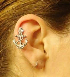 Anchor Tragus Piercing Cartilage Earring Helix by MidnightsMojo, $14.00