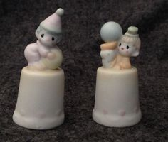 Precious Moments Clown Thimbles x2 Enesco Samuel J. Butcher 1986 VTG