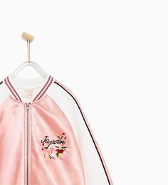 ZARA - 春夏コレクション - 刺繍入り光沢生地ボンバージャケット