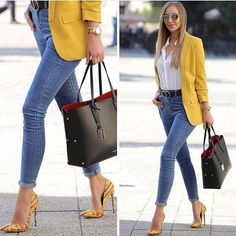 2019 Street Fashion's Most Stylish Outfit Combinations Blue Skinny Jeans Pants White Shirt Yellow Jacket Yellow Stiletto Shoes - Summer Work Outfits Summer Work Outfits, Casual Work Outfits, Business Casual Outfits, Office Outfits, Work Casual, Stylish Outfits, Business Attire, Business Fashion, Casual Outfits Summer Classy