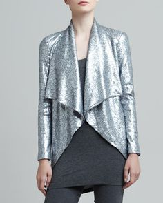 I kind of love this drapey silver jacket. (Donna Karan |  Sequined Cascade-Collar Jacket)