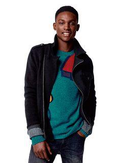 #clothesforhumans #Benetton #FW16 #collection #trend #fashion #man #knitwear #green #denim #jacket