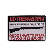 """12"""" x 17"""" Tin Sign - No Trespassing 12 Gauge"""