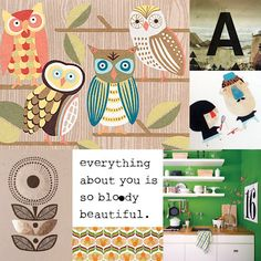 Owl lovers! Here you have some nice cute illustrations of your favorite birds! Love the black and white quote i found somewhere on the Girlscene website. And ofcourse a simple capital typography A. Love the first letter of the alphabet! :P #typography #art #owl #kitchen #interior #design #flower #moodboard #quotation #quote