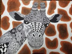 9/12  Probably my all time favorite project! I did this using the ZenTangle style of art, then I did the giraffe background pattern in Prisma colored pencils. This was the start of something big for me!