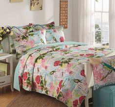 Spring Bird Queen to King Bed Coverlet Set - Shop