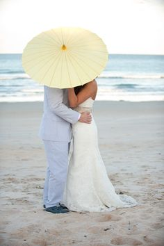 Yellow Parasol Wedding Photo