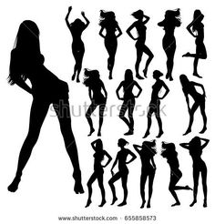 Collection Many Black Vector Silhouettes Beautiful Stock Vector (Royalty Free) 655858573 Girl Silhouette, Cool Stickers, Ladies Night, Work Inspiration, Female Bodies, Bikini Girls, Night Out, Girl Back, Beautiful Women
