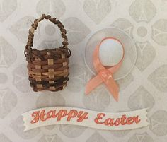 Happy easter banner, peach bonnet hat & mini #2.5cm #round bamboo basket #craft s,  View more on the LINK: http://www.zeppy.io/product/gb/2/272464139973/