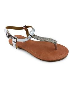 Chulis Footwear Silver Christine Rhinestone-Accent Sandal - Kids | zulily