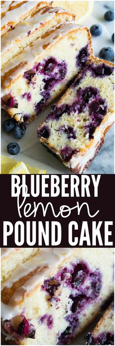 This pound cake is made lighter by using greek yogurt and is loaded up with lemon flavor thanks to zest and fresh lemon juice! Juicy blueberries are baked right in. All drizzled with a luscious lemon glaze. Köstliche Desserts, Delicious Desserts, Dessert Recipes, Yummy Food, Cupcakes, Cupcake Cakes, Pound Cake Recipes, Pound Cakes, Bread Recipes