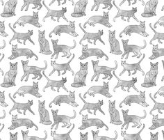 Watercolor Cats - Grey by Andrea Lauren fabric by andrea_lauren on Spoonflower - custom fabric