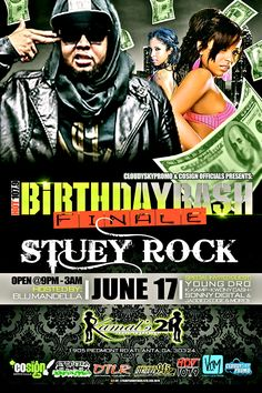 This Moday june 17 it's going down @Kamals21 hosted by Blu Mandella Stuey Rock will be in da building v107.5 CoSign Officials & Cloudy Sky Promo presents Birthday Bash Finale come with singles in hand  sexy ladies and chick Boxing its a cant miss event
