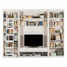 Tv Bookcase, Bookshelves With Tv, Built In Shelves Living Room, Etagere Bookcase, Living Room Tv, Home And Living, Living Spaces, Built In Wall Units, Tv Wall With Shelves