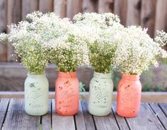 Shabby Chic Mason Jars / Distressed Paint Glass by TheRocheShop, $40.00