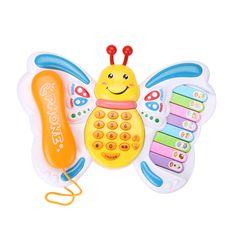 Bebé Juguetes Educativos Musicales Piano Eléctrico Teclado Juguete Mariposa Número de Teléfono Aprendizaje Temprano Juguetes de Sonido de Los Animales Para El Bebé