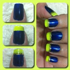 Blue & Yellow French Tip on ring finger nail and then other nails, regular French tip with gold line above