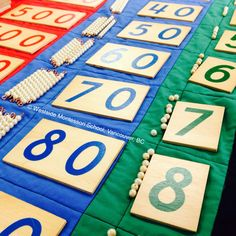"""""""The movement of the hand encourages brain processes and reinforces learning through experiences."""" Maria Montessori Children reinforce number concepts when they build quantities that represent these abstract numerals. """"Seven tens make seventy."""" #montessorimath Post from: @wmswms"""