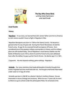 Boy Who Drew Birds FREE Unit Study