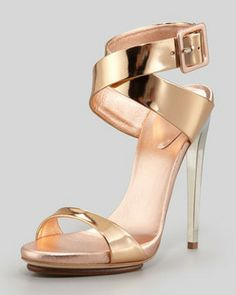 Giuseppe Zanotti Big-Buckle Ankle-Wrap High-Heel Sandal, Copper on shopstyle.com