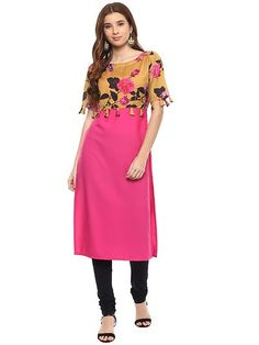 Pink Printed Straight Kurta by Sourgrape's Online - Online shopping for Kurtas on MyShopPrime - Yellow Print, Black Print, Shrug For Dresses, Dresses For Work, Half Sleeves, Types Of Sleeves, Ethnic Gown, Bohemian Print, Pink Fabric