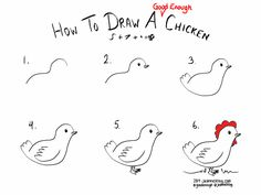 "Draw the tail as a single point or with downward feathers and it just doesn't quite say ""chicken"" in the same way. Description from jeannelking.com. I searched for this on bing.com/images"