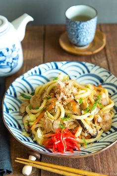 Japanese udon noodles stir fried with vegetables and your choice of protein, Yaki Udon is definitely a keeper when comes to easy weeknight dinner! It's a great meal to use up your leftover too. #yakiudon #udon | Easy Japanese Recipes at JustOneCookbook.com