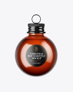 Amber Glass Christmas Bottle Mockup