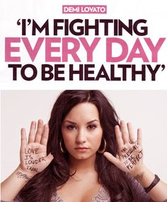 Demi Lovato is a great role model, she's very open and honest about her struggles, her recovery process and her desire to be healthy. It's self harm awareness day!