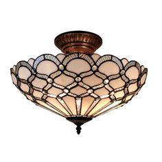 Amora Lighting Tiffany Style Jewel Semi Flush Mount $165, overstock