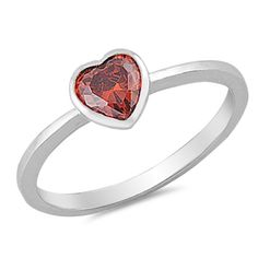 Cute Petite Solitaire Heart Promise Ring Heart Deep Red Garnet CZ Solid 925 Sterling Silver Heart Ring Dainty Wedding Engagement Ring