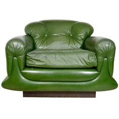 Mod Overstuffed Green Leather Lounge Chair c1970