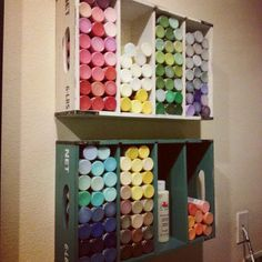 Storage idea for acrylic paints from Cardboard Sheek  www.facebook.com/cardboardsheek