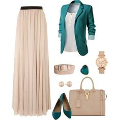 Stylish Blazer Outfit Ideas to Copy Now Do you want to easily and quickly change the look of different pieces you wear without the need to spend a lot of money? Long Skirt Outfits, Outfits Casual, Blazer Outfits, Mode Outfits, Casual Blazer, Hijab Casual, Muslim Fashion, Modest Fashion, Hijab Fashion