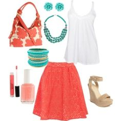 Coral, turquoise & white